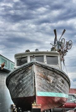 Dry-docked boat next to Adams Street Park