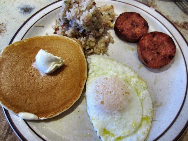 Portuguese sausage eggs 'n' things with fried egg, buttermilk pancake and fried rice