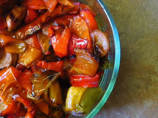Roasted peppers with Italian sausage