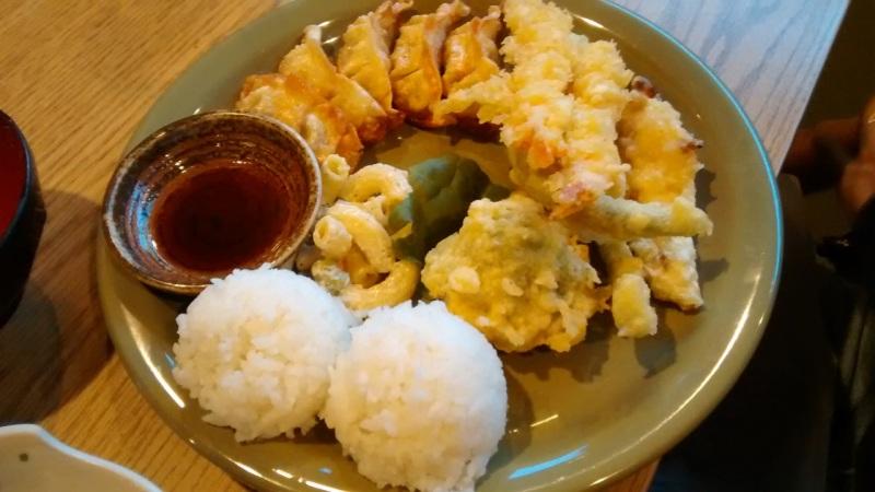 Combination Dinner with Gyoza and Tempura