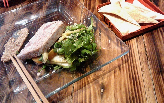 Country-style pork pate, Japanese pear and roasted yellow beet salad