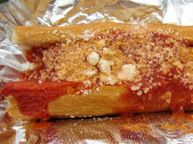 Meatball sandwich with marinara