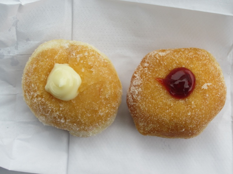 Bavarian cream and raspberry malasadas (from Hawaii's Donut)