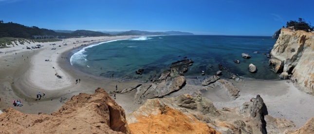 Pacific City beach from Cape Kiwanda (click to enlarge)