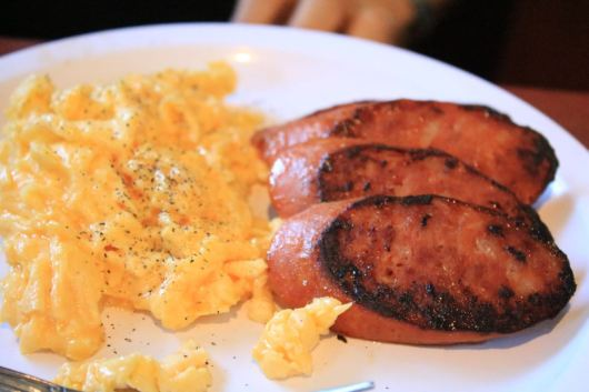 Portuguese sausage and eggs