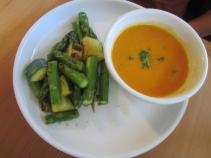 Tomato soup with seasonal vegetables