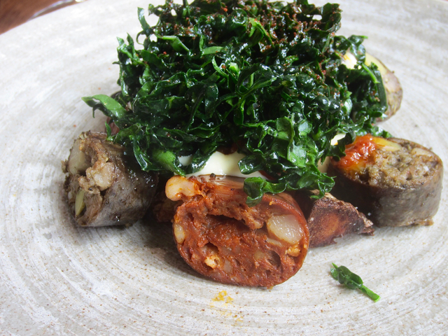 Grilled llangonissa, kale, andoni egg, potato