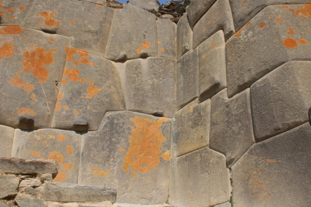 Lichen growth on Uran Pacha period stones, Ollantaytambo