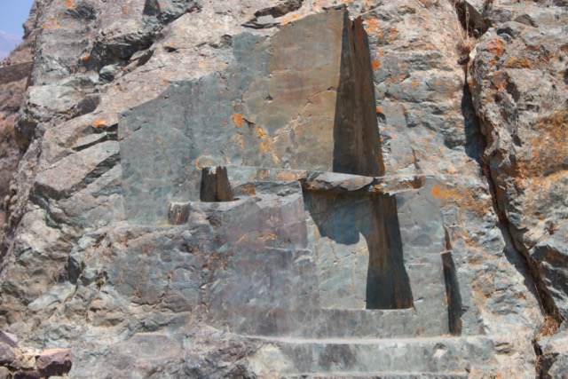 Excavation in stone, Ollantaytambo. Note the smooth, cut surfaces, having the appearance of being machined.
