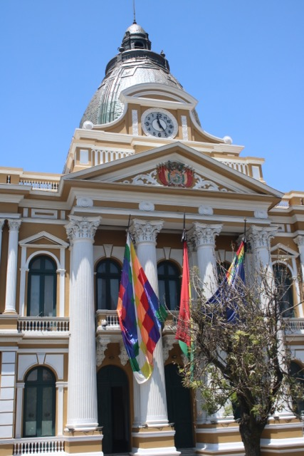 Clock on the Bolivian congressional building, Plaza Murrillo