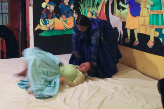 Cholita wrestling compliments of Layka Restaurant