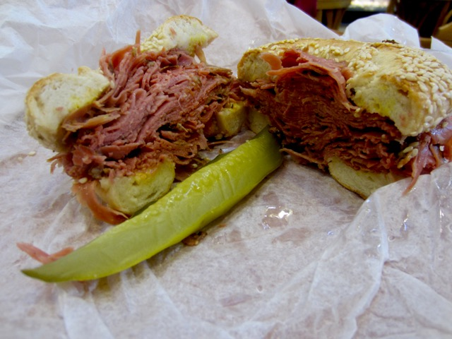 Siegel's smoked meat bagel sandwich
