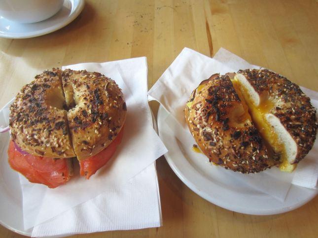 Nova lox and Black Forest ham bagel sandwiches